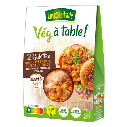 Boîte de deux galettes aux butternut, patate douce, quinoa et lentilles corail d'Ensoleil'ade.