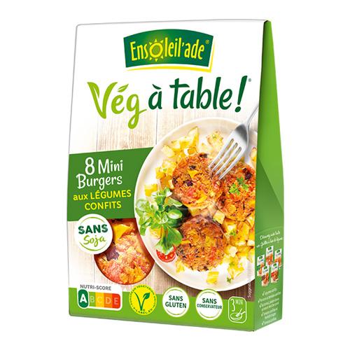 Boîte de huit mini burgers aux légumes confits d'Ensoleil'ade.