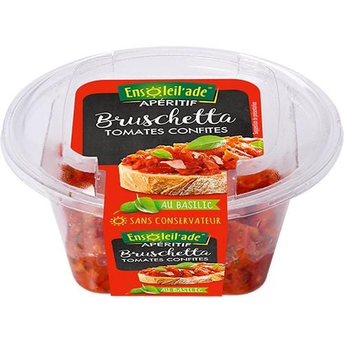 Boîte de bruschetta aux tomates confites et basilic d'Ensoleil'ade.