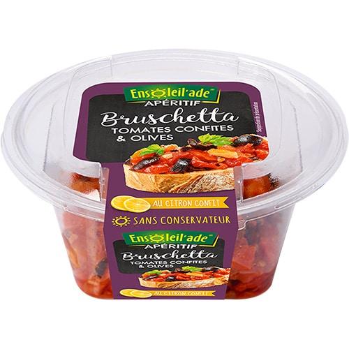 Boîte de bruschetta aux tomates confites et olives d'Ensoleil'ade.